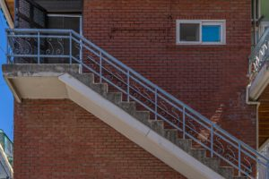 An outside staircase.